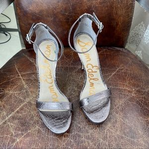 Sam Edelman silver croco metallic heels sandals 8